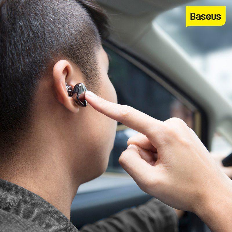 Baseus Encok 싱글 인 이어 이어폰 금속 헤비베이스 사운드 품질 음악 이어폰 미니 블루투스 헤드셋 폰 드 ouvido 현미경 FIO