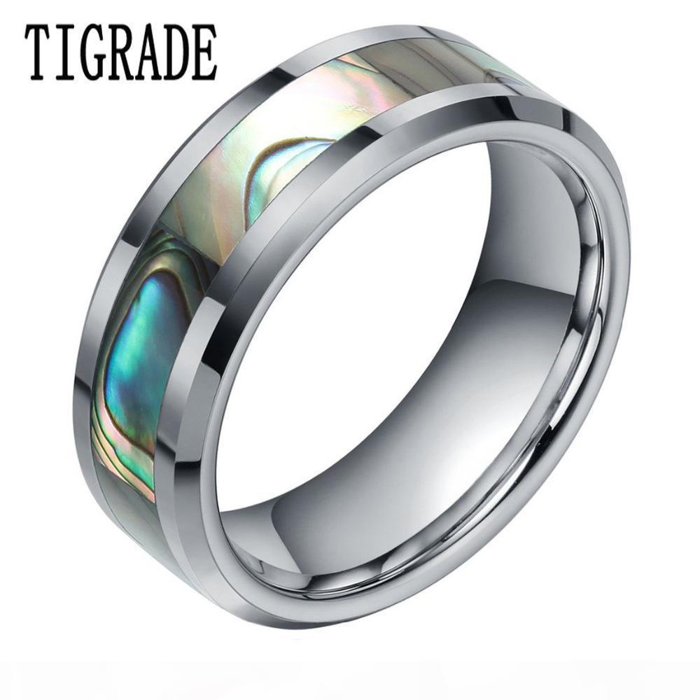 8 millimetri verde Abalone dell'intarsio del carburo di tungsteno anello per le donne lucidate finitura smussato Mens Wedding Band Engagement gioielli di moda T190624