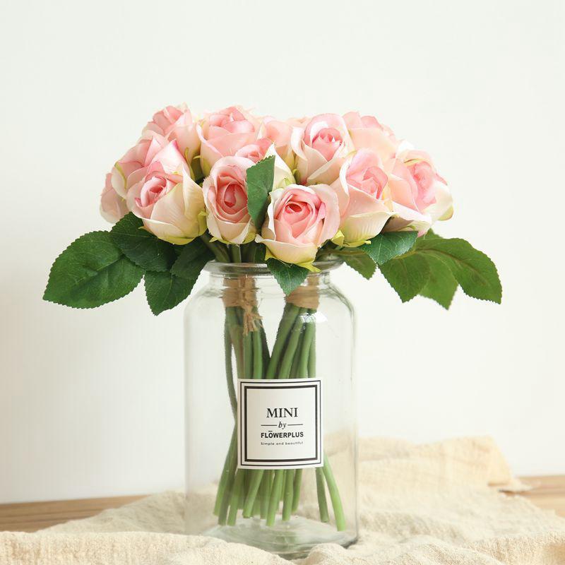 soie artificielle fleurs roses floral Rose Bouquet Faux fleurs fleurs décoratives Fleurs de mariage partie décoration accessoire Flores