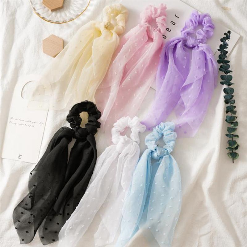 Langer Schal Scrunchies Band Haarbänder Seersucker-Stirnband-Haar-Riegel Seil gebunden Gum Pferdeschwanz-Halter-Haar-Accessoires 6 Farben DW5567