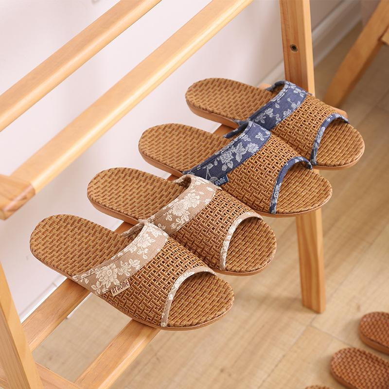 Breathable Strohmatte Schuhe Frau Indoor Slippers Anti-Rutsch-Lovers Startseite Leinen Slipper Weiblich Männlich Haus Boden Slides SH423
