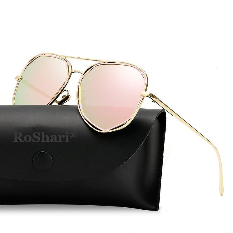 Design Mode Eyewear Femmes 2020 Verres Plat Dame Rose Or Vintage Miroir polarisé Sun Roshari Sunglasses XLTXP