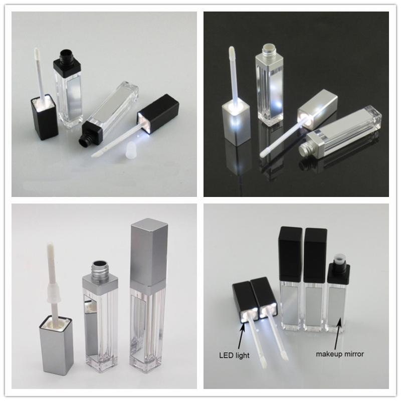 7ML светодиодные черный Косметические Помада контейнеры Макияж Инструмент Пластиковые бутылки площади Корректор Lip Gloss Tube с зеркалом 20шт