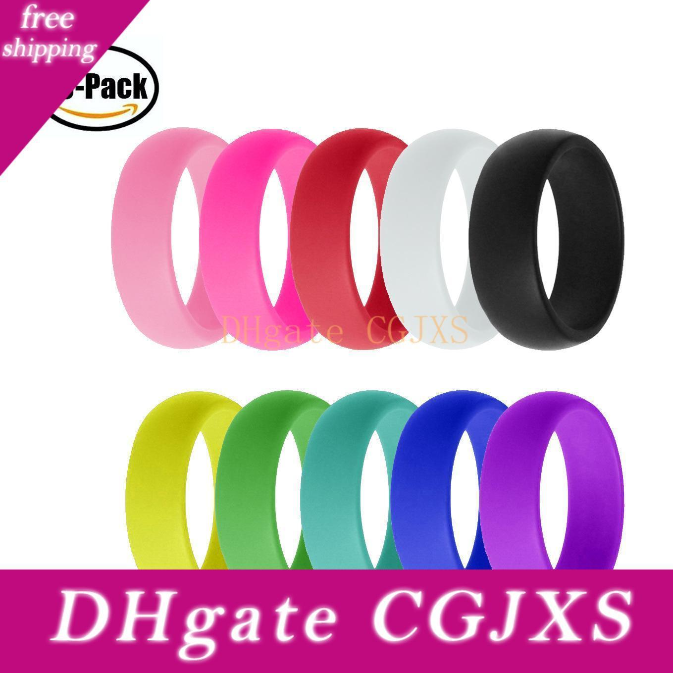 10pcs/Lot Rainbow Candy Color Hypoallergenic Flexible Food Grade FDA Silicone Finger Ring For Couple Wedding Ring Hip-Hop Jewelry