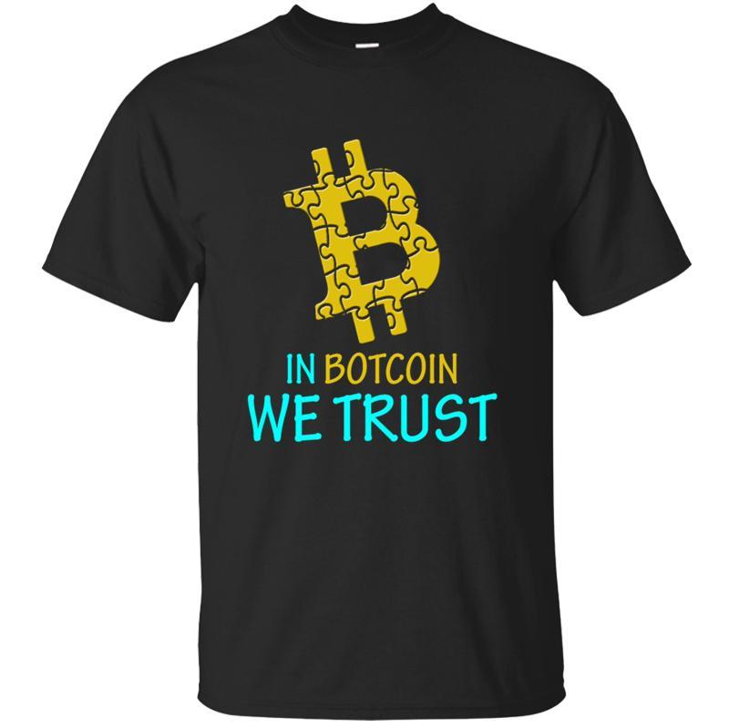 Cotton cómico Bitcoin Bitcoin Em Nós T-shirt Trust For Men 2,019 Básico Sólidos Homens Natural T-shirt louco Hiphop Top Impresso