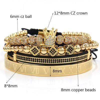 set Beads 8mm 4 pezzi in numeri romani Bracciali in acciaio Coppia braccialetto corona Charm per Love Vintage Bracciali per il regalo di Natale delle donne degli uomini gioielli