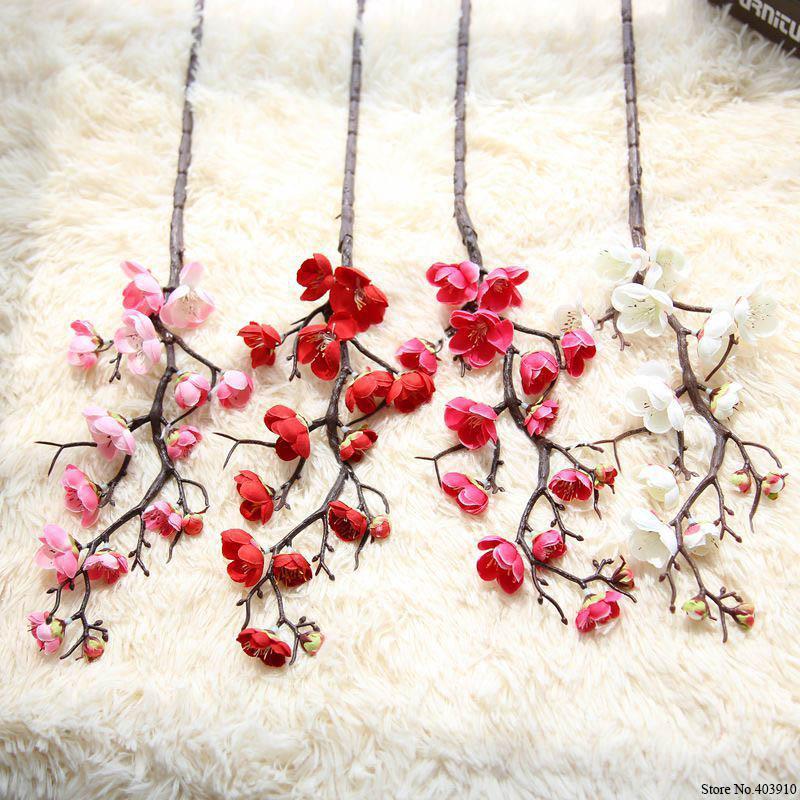 7PCS/lot Plum Cherry blossoms Silk Artificial flowers plastic stem Sakura tree branch Home table Decor Wedding Decoration Wreath