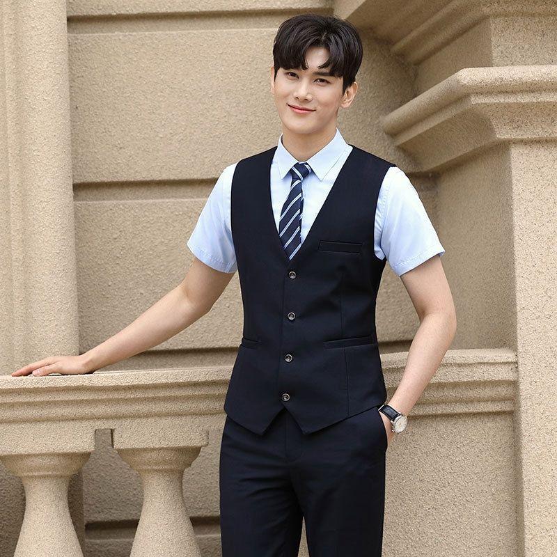 B4ZTp iş takım elbise aynı erkek ve aşınma yelek kadın kumaş iş İş kıyafetleri yelek ol Qiji ofis giyim
