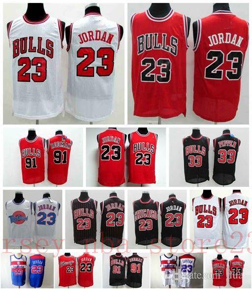 HerrenChicagoBulls Retro Basketball Jersey 23 Michae MJ 33 Scottie Pippen Rot Weiß Schwarz 91 Dennis Rodman Trikots
