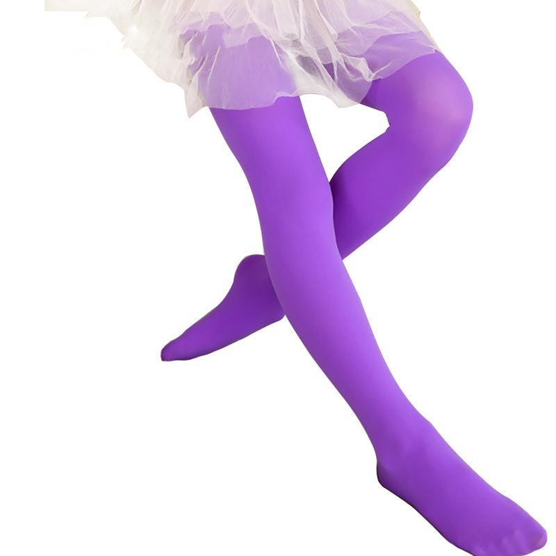 Niñas caramelo del color sólido de los niños del bebé lindo medias de terciopelo del Pantyhose muchachas bailan niños Pantalones Medias