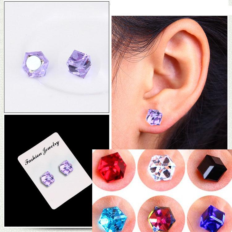 No Hole Earrings Crystal Cubic Zirconia Cube Magnet Stud Earrings Fashion Jewelry Non-pierced earring magnetic stud BY DHL