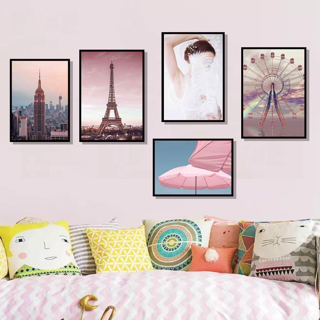 핑크 엠파이어 스테이트 빌딩 (Empire State Building) 파리 타워 벽 예술 캔버스 북유럽 포스터와 인쇄 벽 사진을 거실 장식 회화