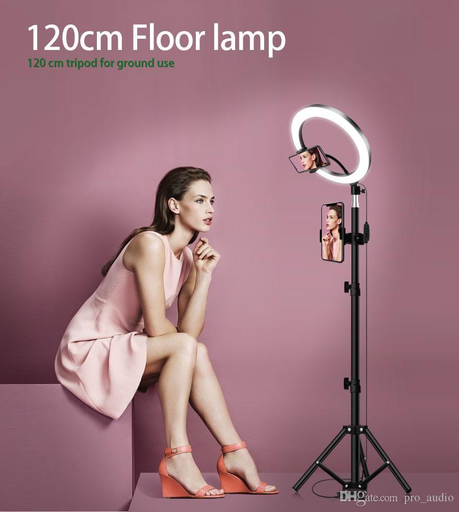 LED Ring Light 16//20//26cm 5600K Dimmable Selfie Ring Lamp Photographic Lighting with Tripod Phone Holder USB Plug Photo Studio Size : 26cm Type 120cm