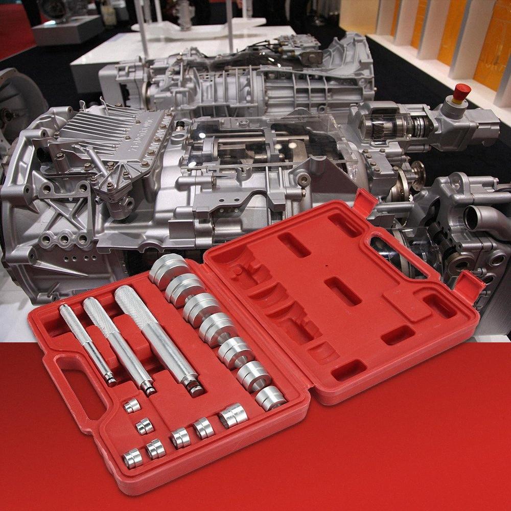 17 PCS 휠 베어링 레이스 인감 부시 드라이버 마스터 도구 세트 알루미늄 축 자동 설정 ObxR 번호