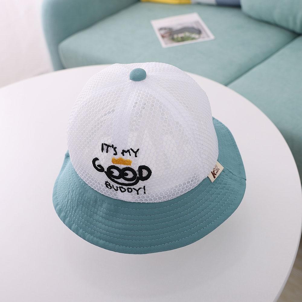 Бида детский ведро ведро английский улыбающееся лицо воздухопроницаемой сеткой бассейна корейски большие карнизы ВС шляпа ребенок рыбак шляпа лето