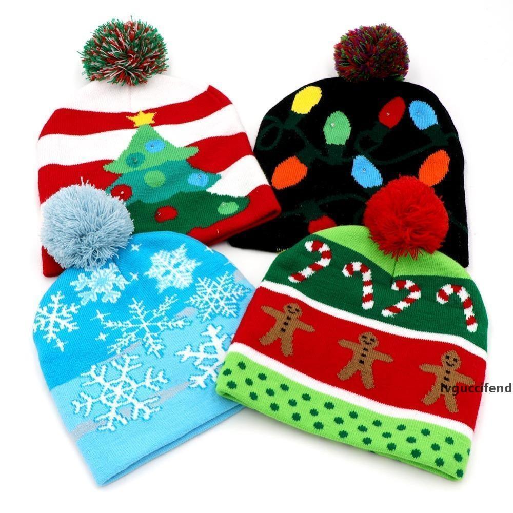 LED Işık Pamuk Noel Şapka Örme Yukarı Beanie Hat Çocuk Yetişkin Çocuk Cap Noel Partisi Dekorasyon Yeni Yıl Hediyeleri