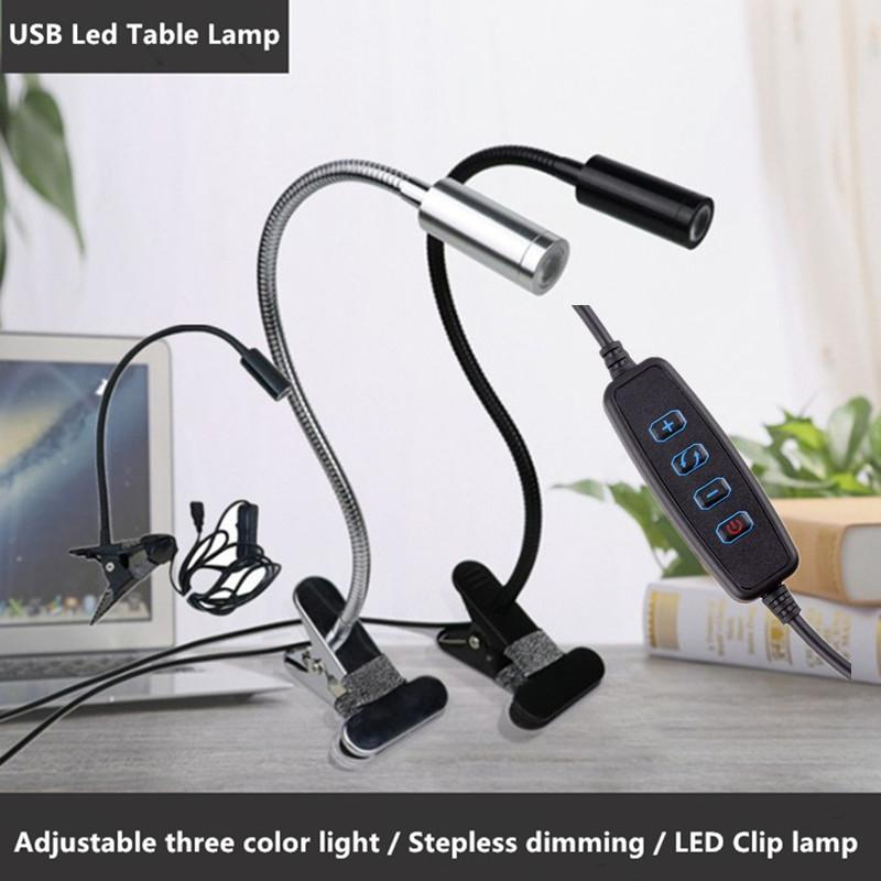 Flexible Dimming 3 Color LED Book Light USB Clip-on Eye Protection Bedroom Reading Lamp Make Up Lamp Led Table Lamp Black/Silver Body