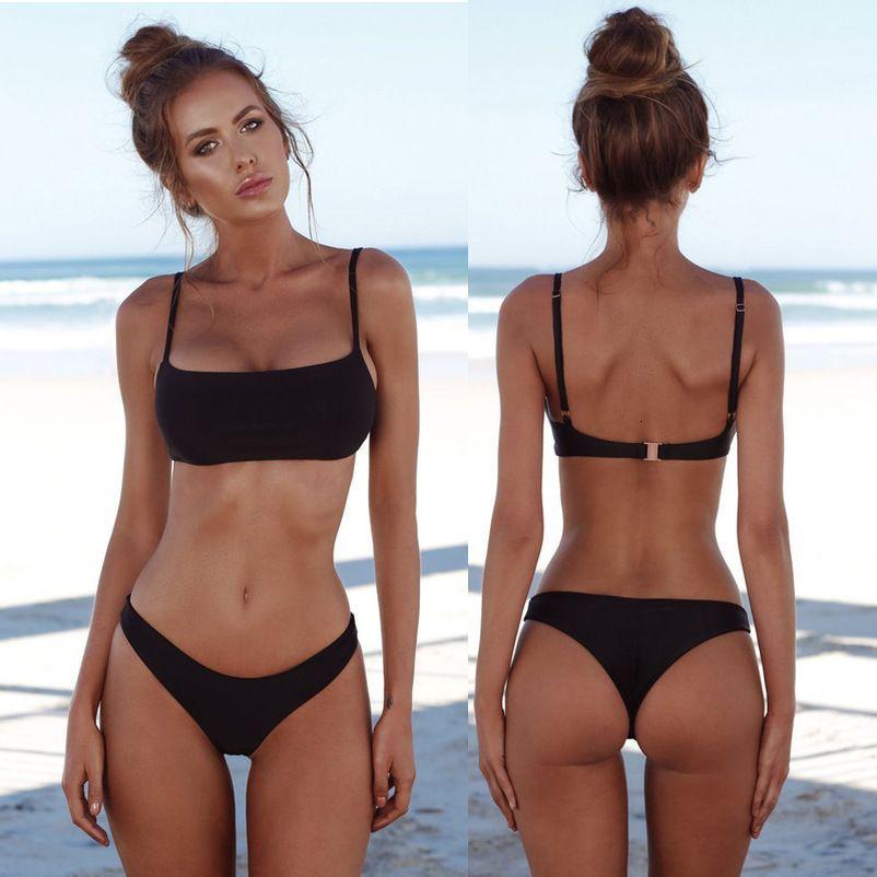 Bikini 2020 femmes sexy String Bikinis Set Filles Costume solide Beachwear Femme bain noir Natation Blanc Costume Polyester Biquini 8