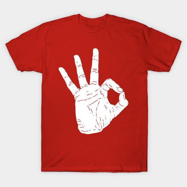 Homens camisetas Sinal APROVADO da mão tshirt mulheres camiseta