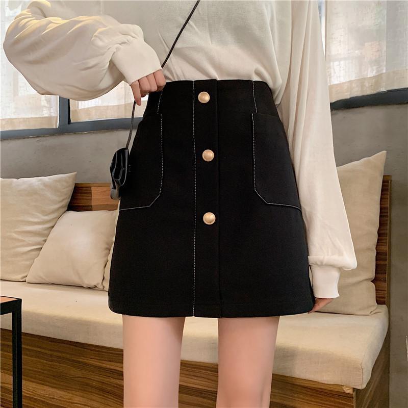 Корейский A-Line Белых Черных Джинсы Юбка Женщина однобортный Карман высокой талия Saia Женской летняя джинсовая мини-юбка