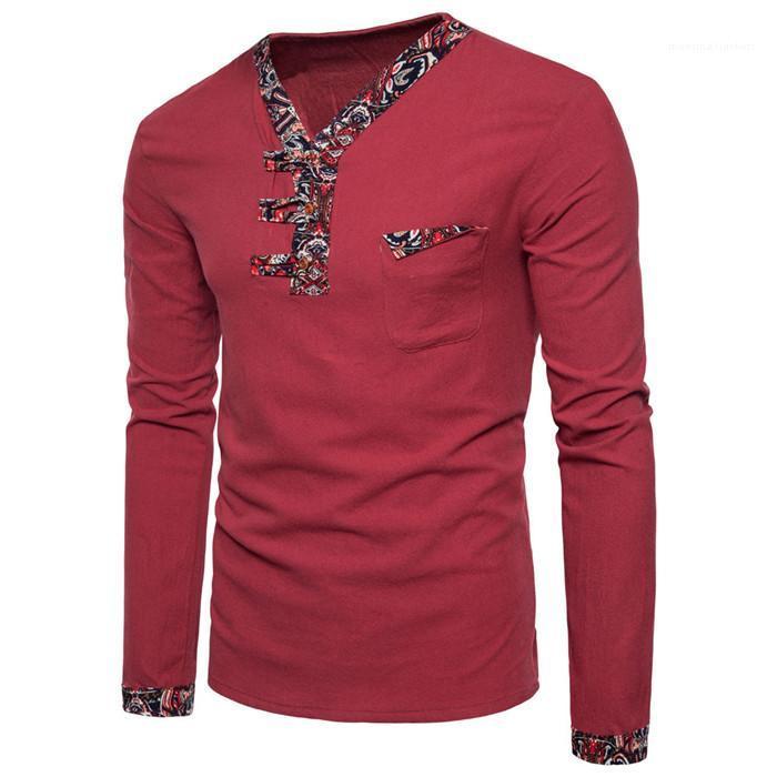 Кнопка с длинным рукавом Лоскутная льняные Тис Мужчины Мода Новые Одежда мужская Китайский стиль V-образным вырезом Tshirts Man Осень