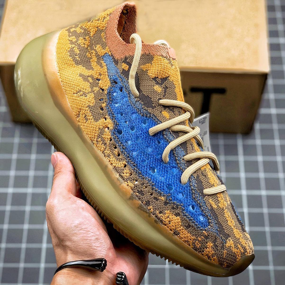 380 Kanye West Hiperespaciales Lundmark Antlia para mujer para hombre azul de avena reflectante Glow Negro arcilla verdadera forma de estrella cebra Trainer las zapatillas de deporte