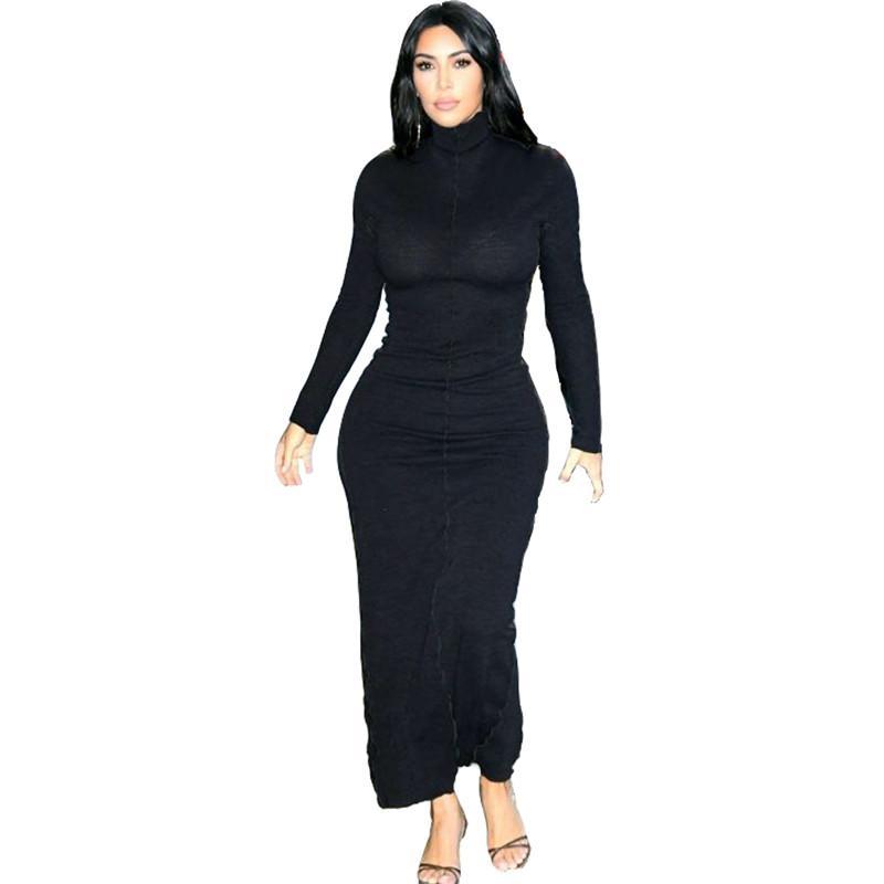 Ким Кардашян женщин Bodycon платья Мода черный Высокая шея Длинные рукава тощий Длинные платья Street Style Женщины платье