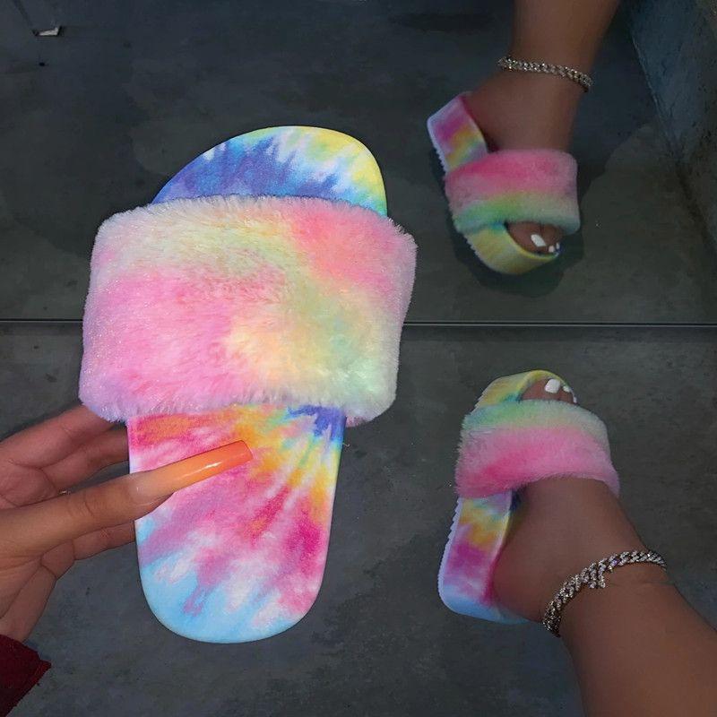 Fur Slides For Women Furry pele sandálias para mulher Feminino Indoor Sapatos Fluffy Plush Com Chinelos Flip Flops Moda 2020