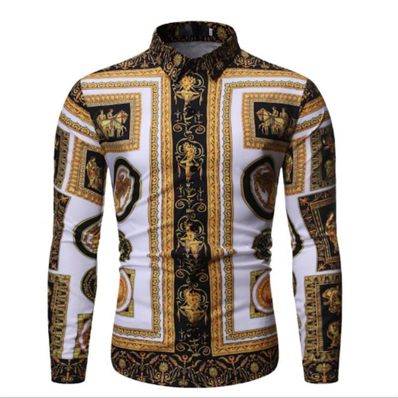 Designer vêtements neufs de l'automne chemise des hommes de mode hommes l'impression de tous match occasionnels chemise à fleurs des hommes de revers à manches longues