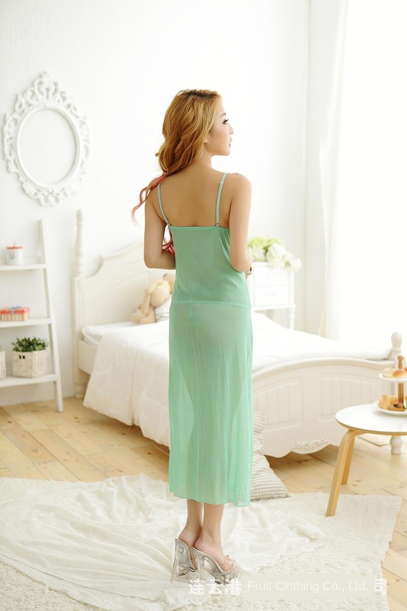 M6Zsr pH8uV Nueva luz verde pijamas largos de la falda atractiva la perspectiva atractiva de la ropa interior de las mujeres falda pajamasLong tentación pajamasuniform