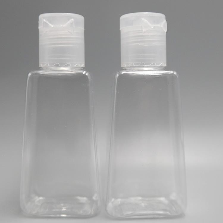 Mini 30ML garrafa vazia PET Plastic Hand Sanitizer Com o Flip Cap Trapézio forma de garrafa Para Removedor de maquiagem líquido desinfectante frascos de amostra