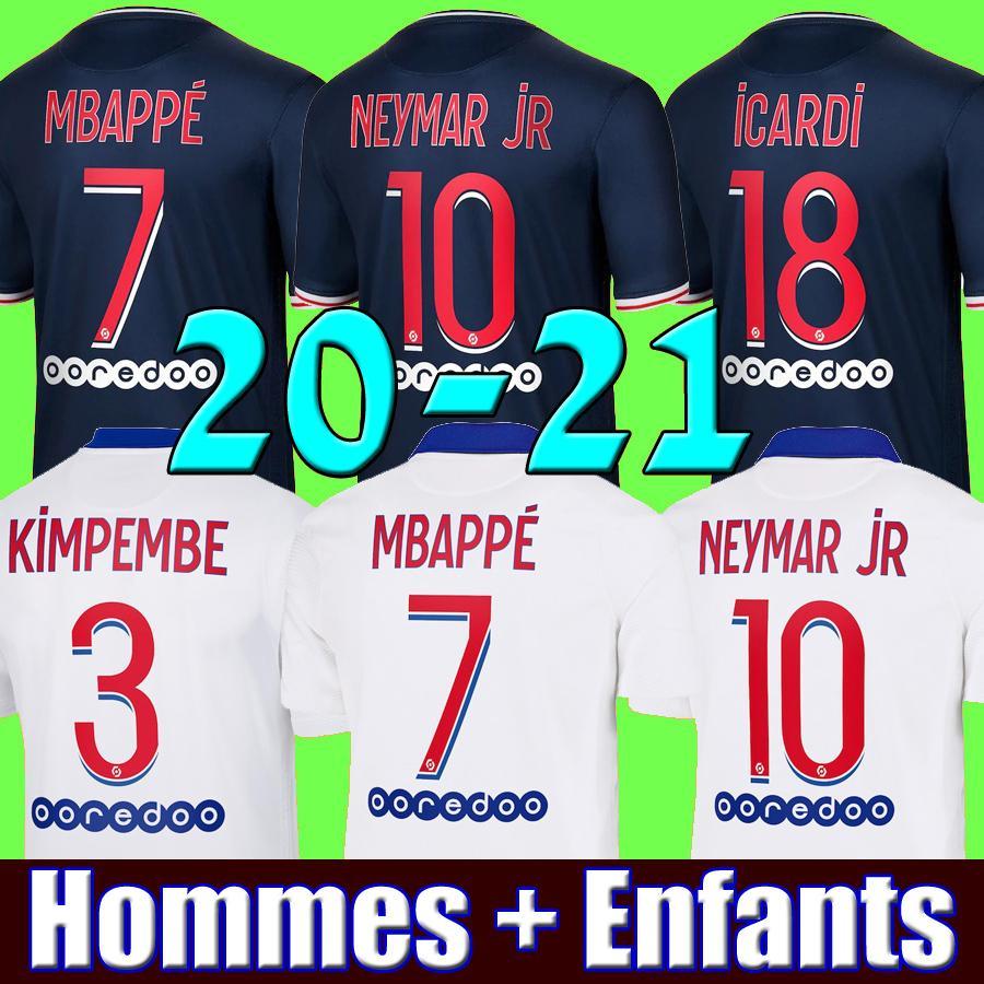 Maillots de kit de futebol psg 20 21 Mbappé jérsei de futebol paris 2020 2021 neymar jr DI MARIA Marquinhos jérseis Camisetas masculinas Cavani maillot de kits de jovens pé