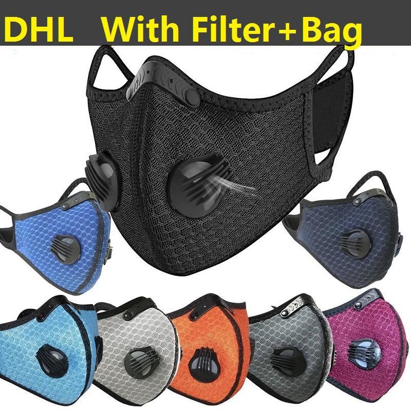 Tasarımcı Bisiklet Yüz Maskesi Filtresi PM2.5 Karşıtı Kirlilik Spor Maske DHL Eğitim Koruma Dust Koşu ile Aktif kömür