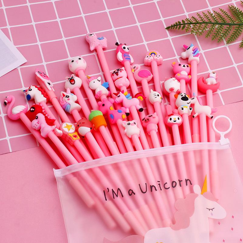 Pluma creativa del gel chica corazón bolígrafo de gel de dibujos animados conjunto rosado lindo estudiante de conjunto