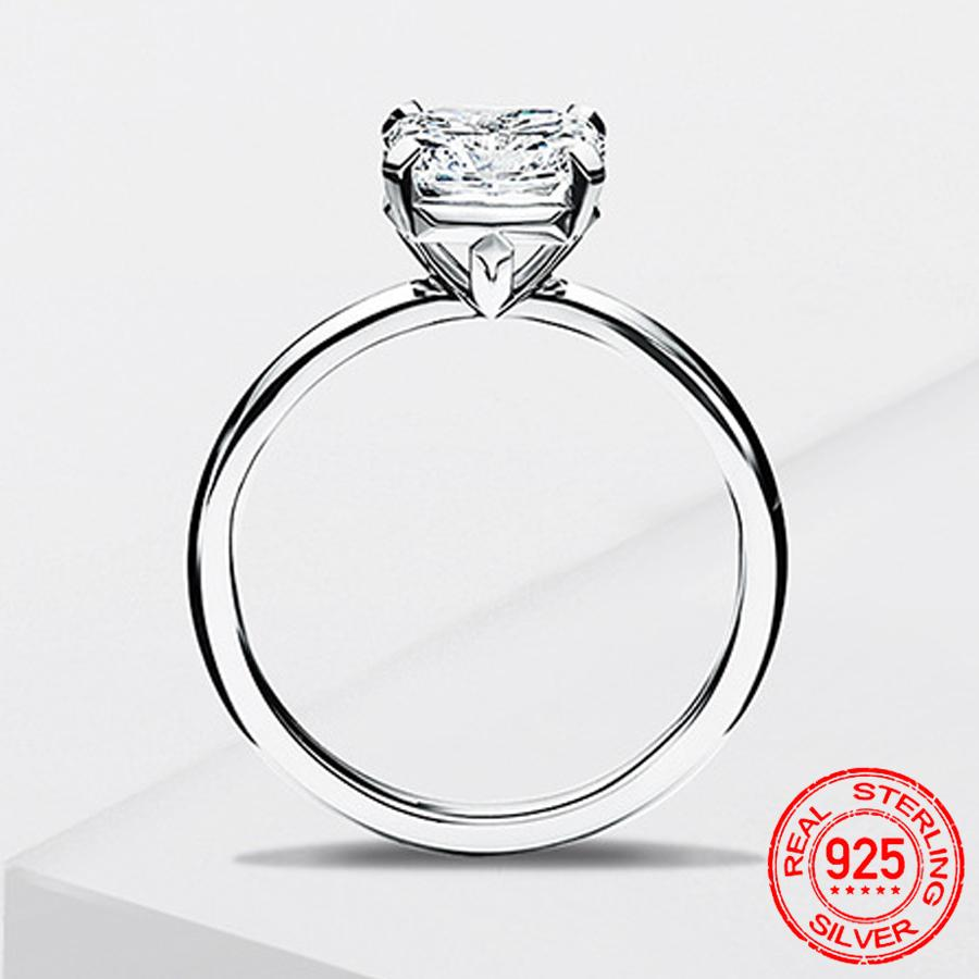 100% 925 Sterling Silver Ring For Women Luxury Zirconia Diamond Jewelry Solitaire Wedding Engagement Ring Gift Accessories XR451