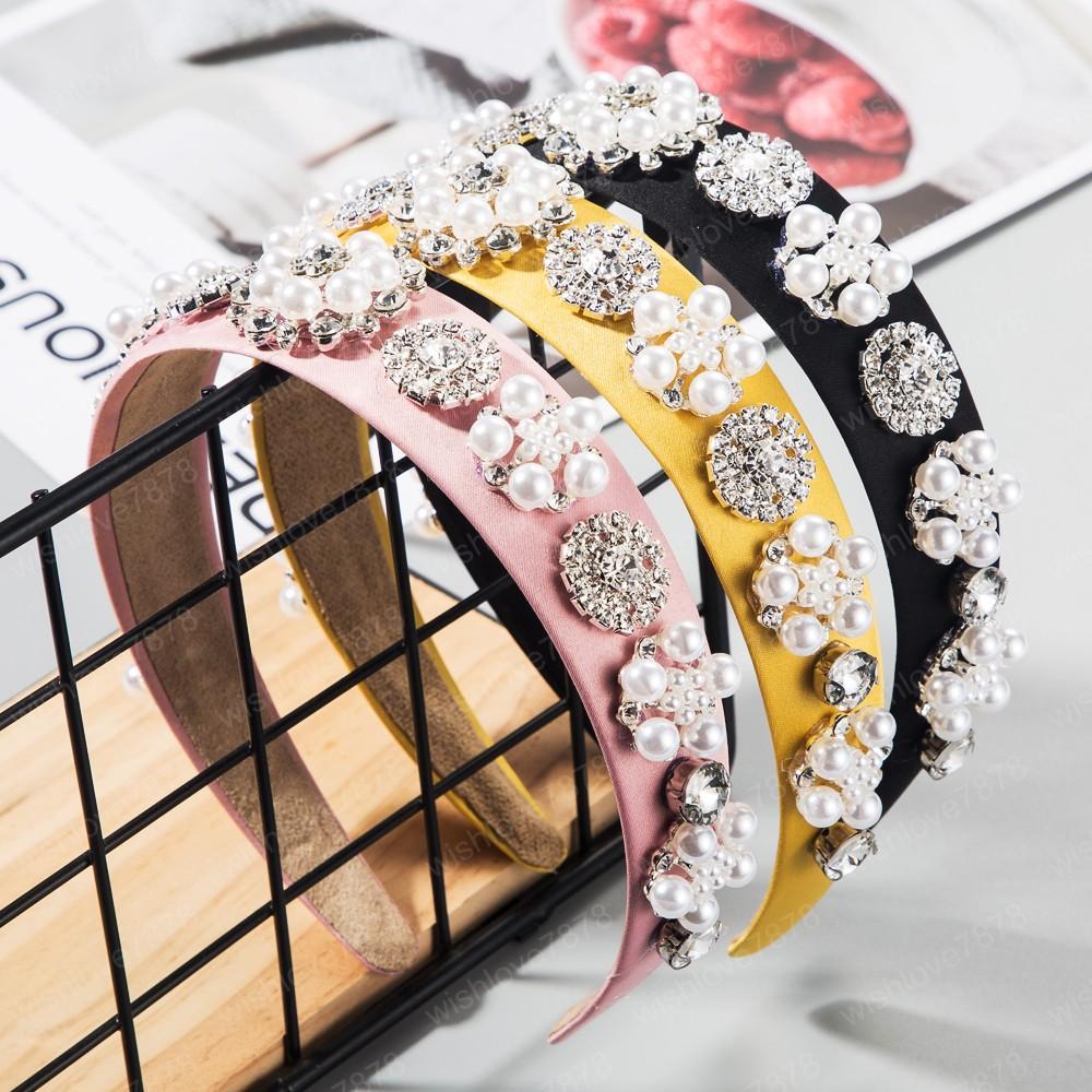 Lady Simüle Pearl Rhinestone Çiçek Saç Hoop tatlı gelin düğün Bezel için Katı Renk Kumaş Kristal Çiçek Kafa