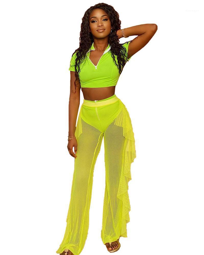 Şeker Renk 2adet Suits Seksi Kısa Kollu Crop Top Şeffaf Mesh fırfır Pantolon Tasarımcı eşofman Womens