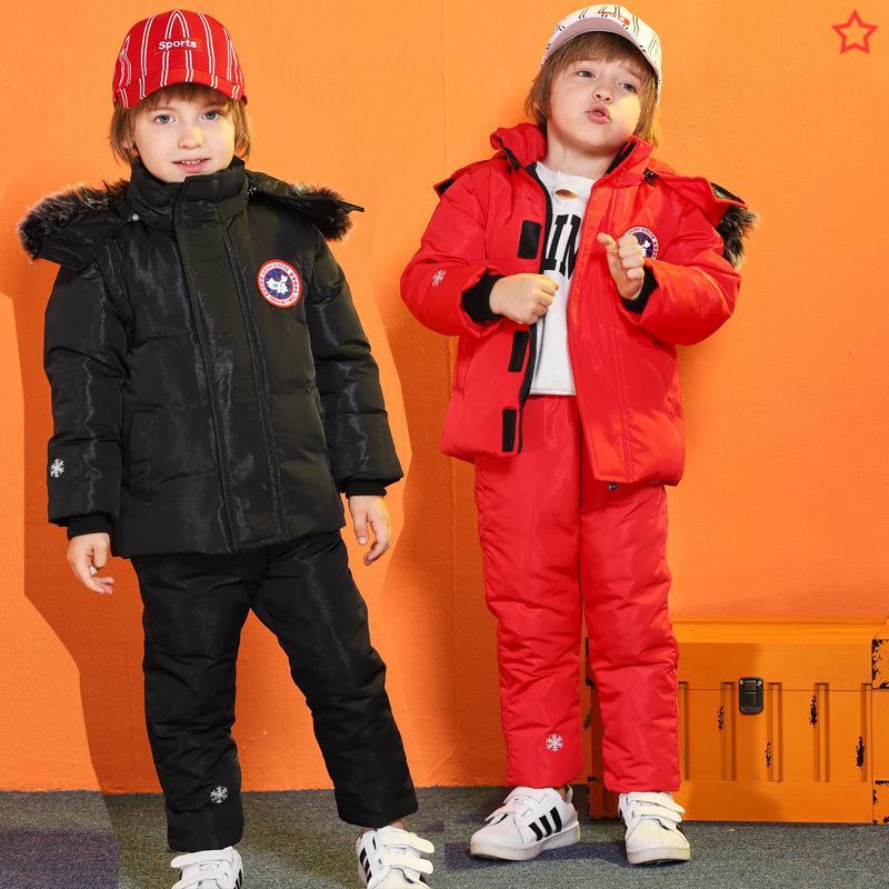 -30 Grad neue Winter-Kinderkleidung Set Daunenjacke Kleinkind Weste Boy Mäntel Overalls Kinder warme Snowsuit Für Mädchen Kleidung Baby
