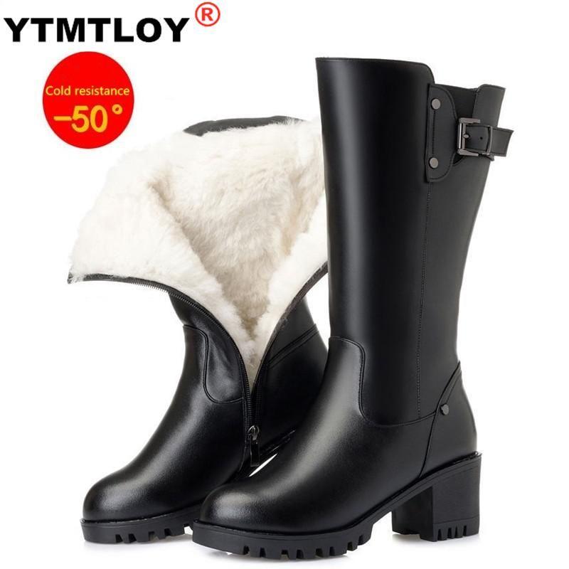 Quente Inverno Botas Mulheres High Heel Joelho Botas Preto Waterproof salto Grosso Fur Mulheres Aplicável -50% Neve