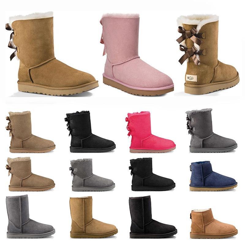 여성 클래식 신발 스노우 부츠 겨울 밤나무 크기를위한 발목 짧은 활 모피 부츠 36-41 패션 야외 좋은 품질