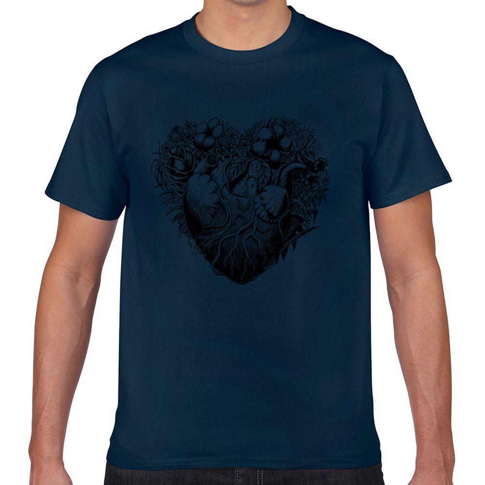 Tops Camiseta Homens do vintage folhagem botânico Casual Preto personalizado masculino Camiseta