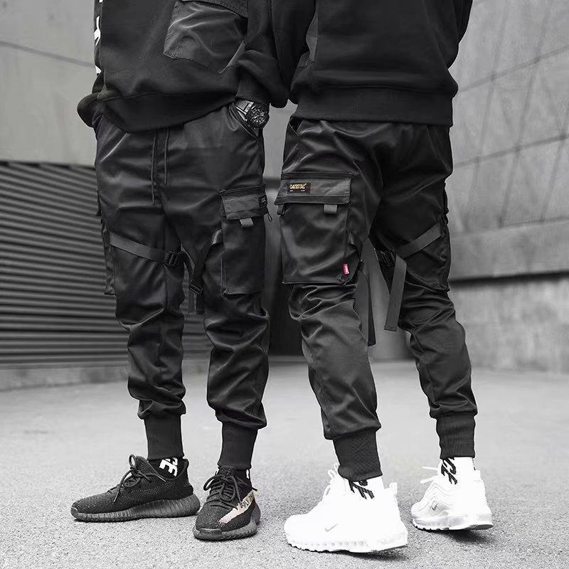 calças de carga Homens Joggers Casual Pants sólido Masculino Multi-bolso Calças New Mens Sportswear Hip Hop Harem Pencil