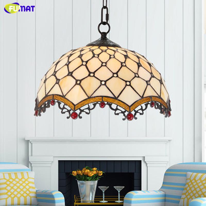 FUMAT تيفاني الملون قلادة زجاج مصباح الخرزة الأبيض 12 16 بوصة الظل شنقا أضواء LED تركيبات مطابخ سلسلة Hanglamp الأوروبي