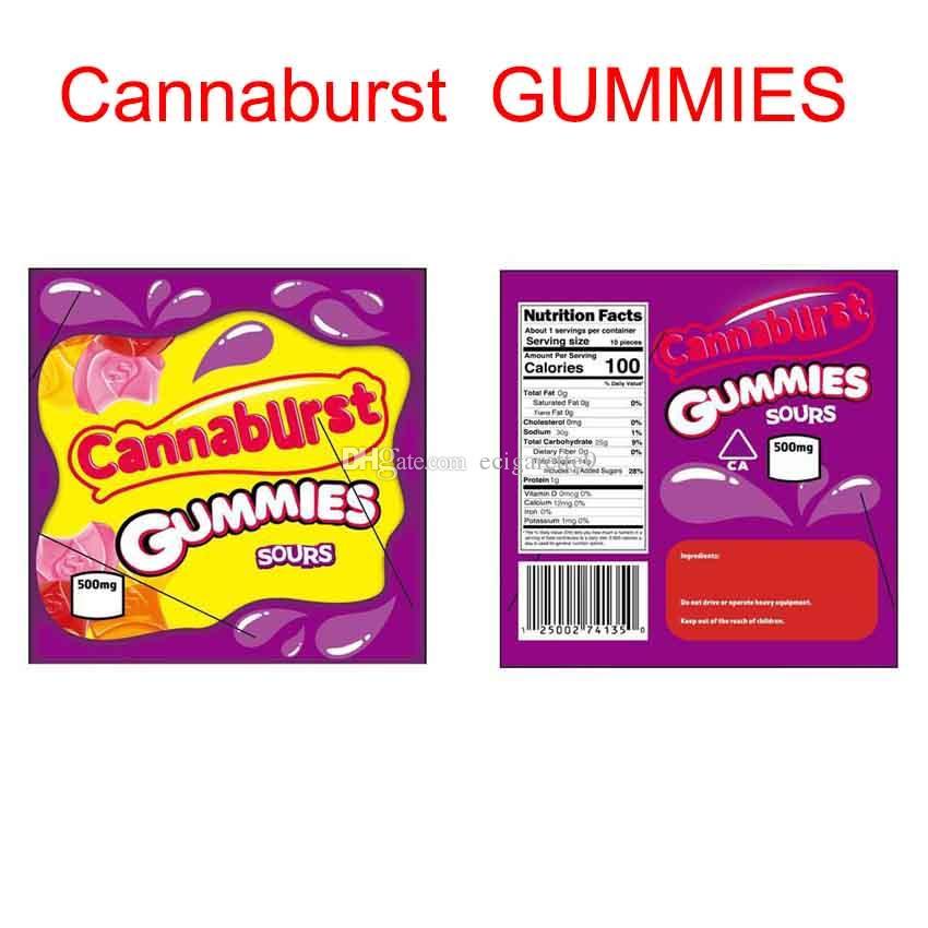 Hot Cannaburst Gummies Sours Mylar Bag 500mg Childproof Edibles Empty Zipper Pouch Retail Storage For Dry Herb Tobacco Flower Package