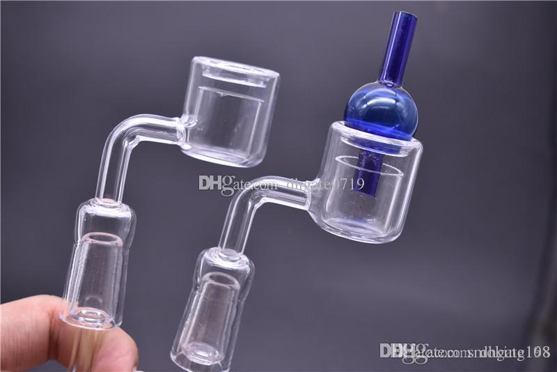 Thermal XXL Quarz Banger + carb Kappe Doppel Quarz mit 10mm 14mm 18mm Männlich Weiblich 90 Grad Dick banger Domeless Nagel für Dab Rig Bong