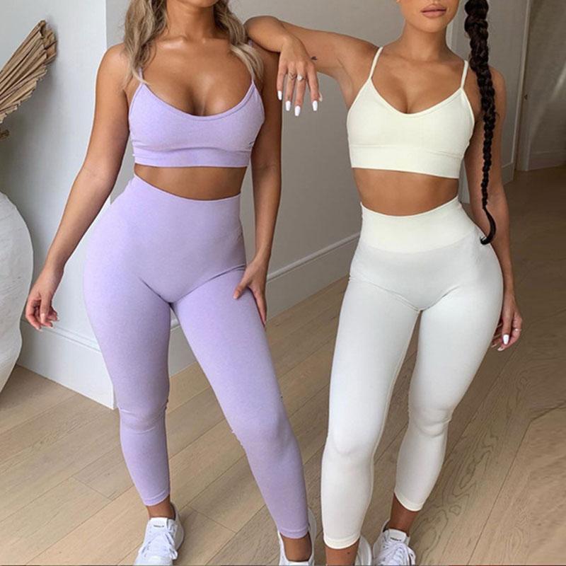 Women Tracksuit Crop Tank Tops Yoga Pants Gym Leggings Two Piece Sports Suit Ladies Sportswear High Waist Fitness Running Sets 050714