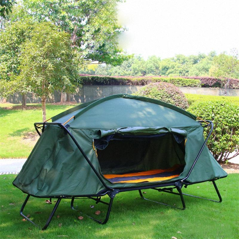 Outdoor Thickened Oxford Cloth Warm Off Ground Tent Waterproof Double Layer Outdoor Tent Anti Storm Travel Camping Single feik#