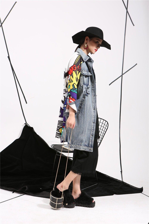 pUaMk Fashion Marke 2020 neuer Frühling und Herbst Graffiti Windjacke Mantel Kleidung langen Mantel Denim Nähen lange Hülsenwolljacke Windjacke