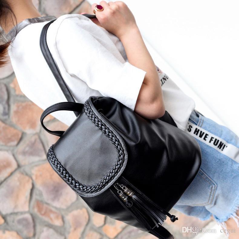 Kadın Backpack için Designer- Pretty Stil PU Deri Kadınlar Siyah 15 İnç Sırt Çantası Moda Bayan Casual Kız Okul Omuz Çantaları