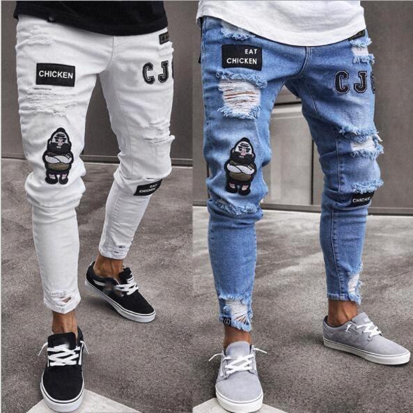 Hommes Ripped вышивки Джинсы мужские Тонкий Байкер джинсы Длинные брюки карандаш Man Denim брюки Hip Hop Streetwear Проблемные джинсы ППСР #